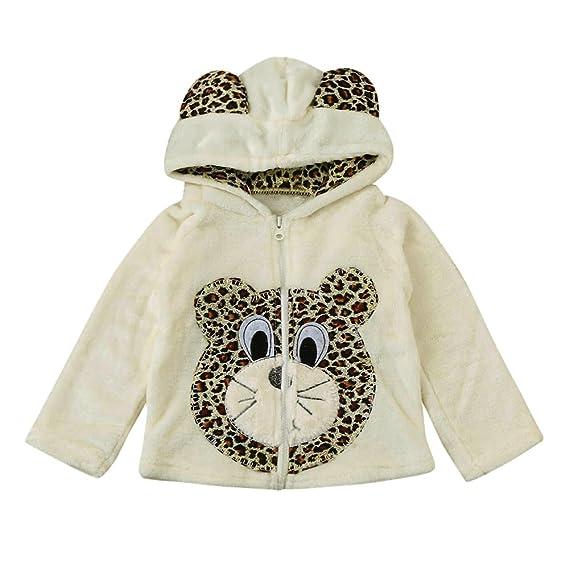 Covermason Bebé Niñas y Niños Lindo Animal Impresión Encapuchado Abrigos Otoño Invierno Espesor Chaqueta para 0