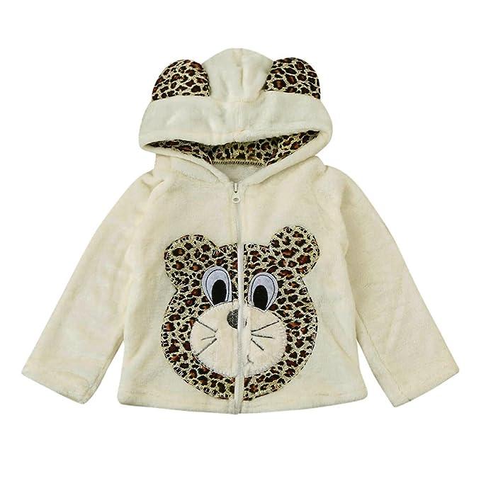 Covermason Bebé Niñas y Niños Lindo Animal Impresión Encapuchado Abrigos Otoño Invierno Espesor Chaqueta para 0-5 Años (4-5Años, Oso)
