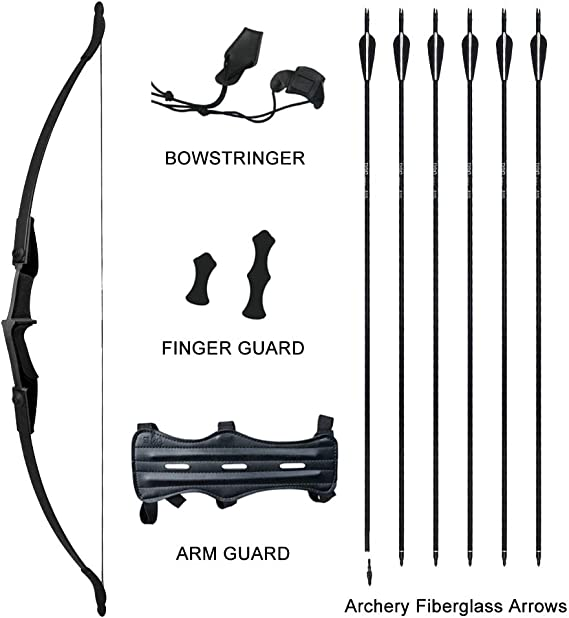 Tongtu Multicolor Recurve Bow Arrow Set,Straight Bow for Teens or Beginner