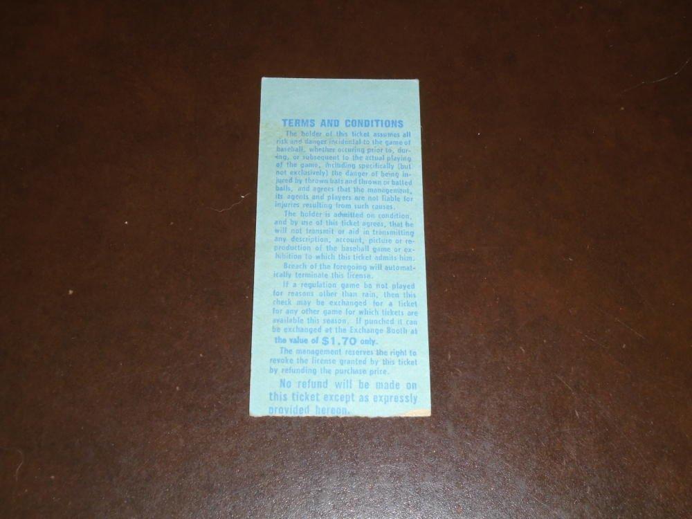 1966 NEW YORK METS TICKET STUB VS SAN FRANCISCO GIANTS. H.R KEN BOYER HAWK TAYLOR