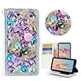 STENES Samsung Galaxy S7 Edge Case - STYLISH - 3D Handmade Crystal Butterfly Bowknot Flowers Wallet Credit Card Slots Fold Media Stand Leather Cover Case - Light Purple
