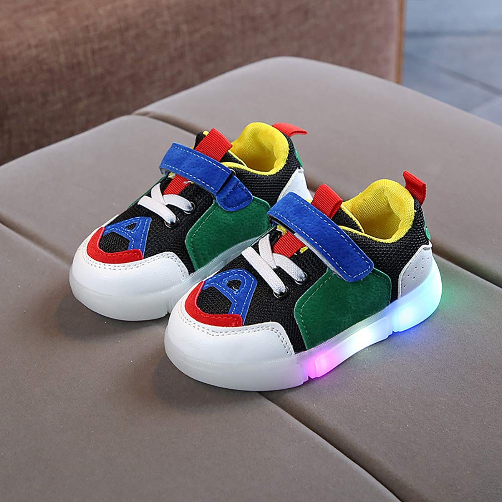 White 23 Alamana Fashion Kids Girls Boys Colorful Sneaker LED Light Anti-Slip Casual Shoes Gift