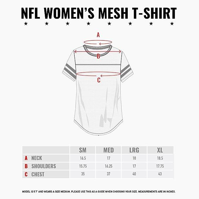 4da85c26ed1 Amazon.com : ICER Brands NFL Women's Jersey T-Shirt Mesh Varsity Stripe Tee  Shirt, White : Clothing