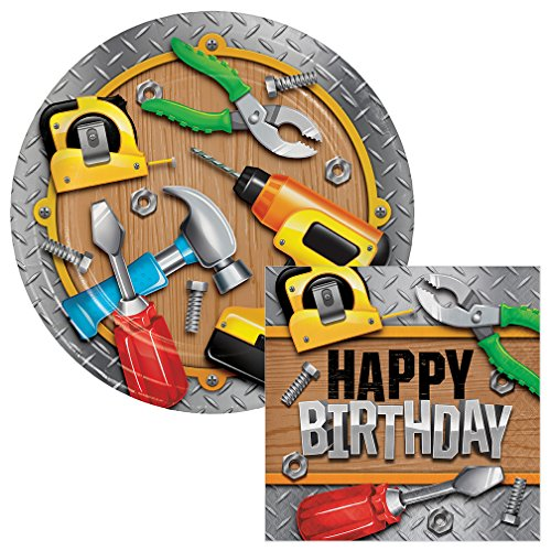 - Handyman Birthday Lunch Plates & Napkins Party Kit for 8
