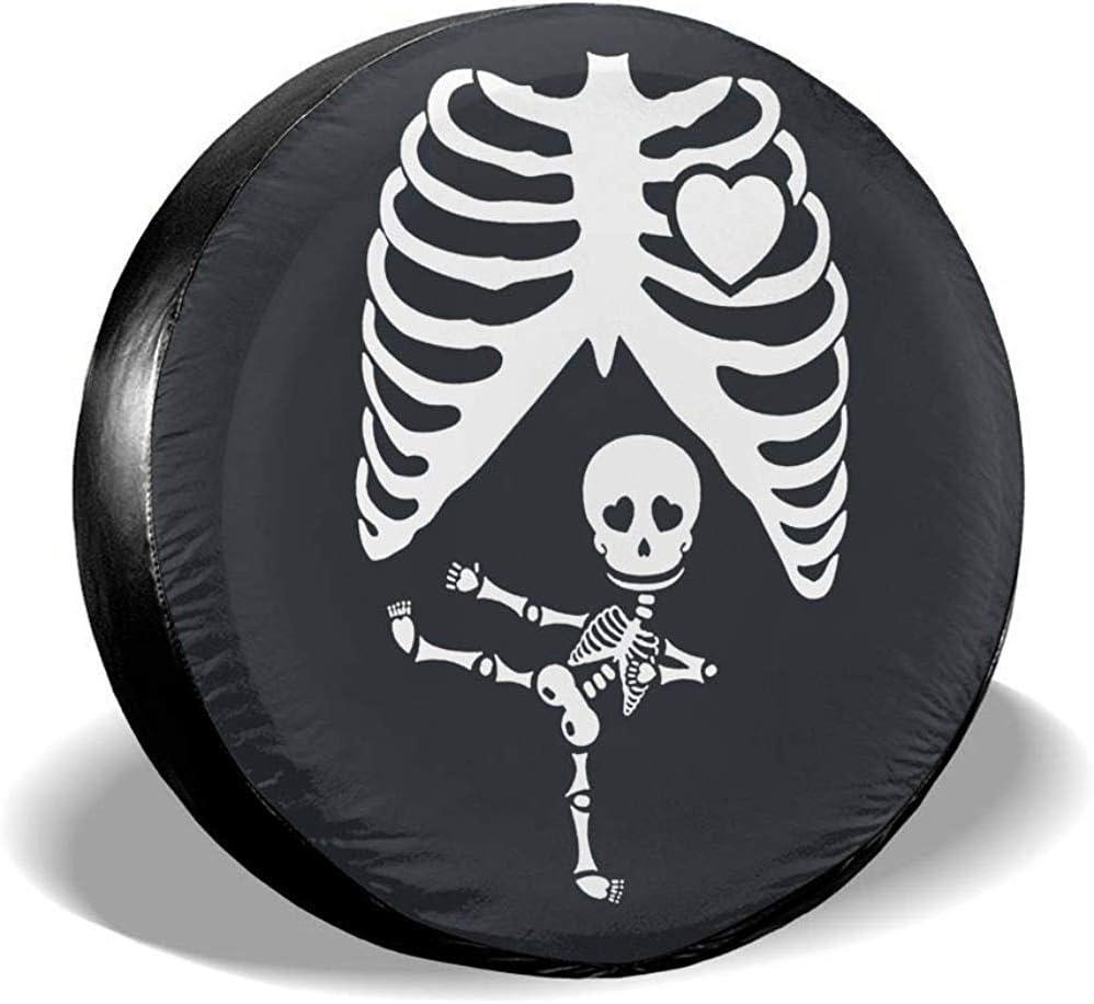 Kncsru Cubierta de neumático de Repuesto Esqueleto Embarazada de Halloween A Prueba de Polvo a Prueba de Polvo para Jeep, Remolque, RV, SUV, camión y Otros vehículos de 16 Pulgadas