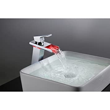 Triple Handle Wall Mount Led Waterfall Tub Faucet With Handshower
