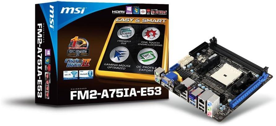 MSI Socket FM2, AMD A75, SATA 6Gb/s, USB 3.0, 1 PCI-E x16, Mini ITX Motherboard FM2-A75IA-E53