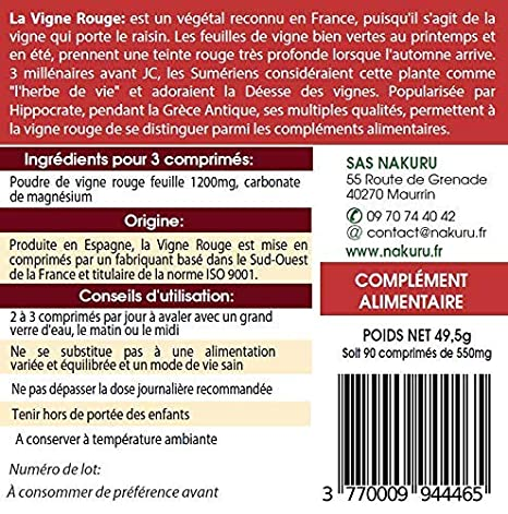 Vid Roja | 90 comprimidos de 550 mg | NAKURU Power | Polvo ...