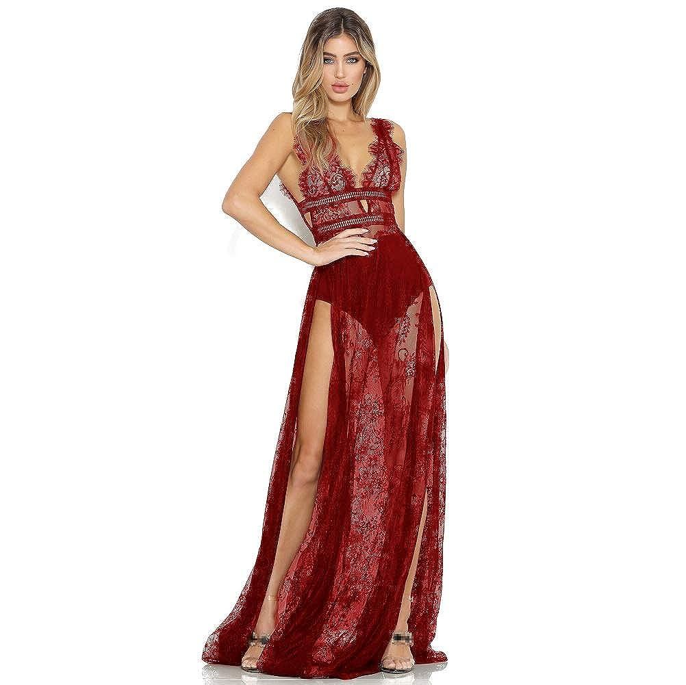 tupretty Womens Deep V-Neck Lace See-Through Mesh High Split High Waist Party Maxi Dress
