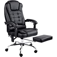 Artiss 8 Point Massage Executive Office Computer Chair PU Leather High Back Adjustable Height Footrest Armchair Black