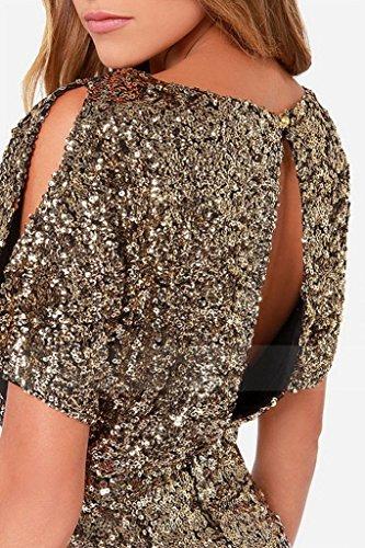 Gold Ru Unita Corta Tinta Manica Vestito Donna Plissettato Xiang FqndwI78q