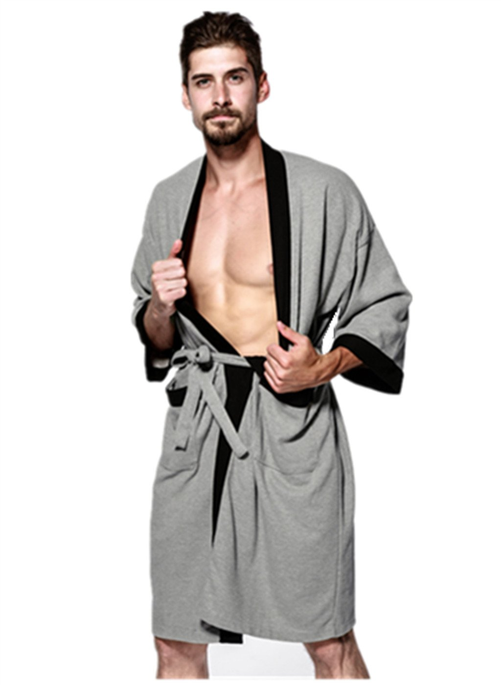 Nyeutho Men's 100% Cotton Robe, Soft Cotton Bathrobe