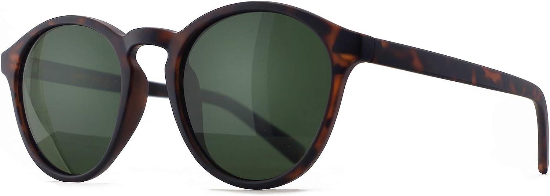 SUNGAIT Gafas de Sol Redondas Clásicas Unisex Gafas de Sol Polarizadas Estilo Retro Vintage Protección UV