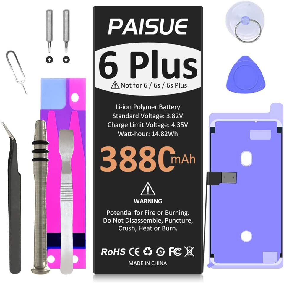 Battery for iPhone 6 Plus, Upgraded 3880mAh New 0 Cycle Battery Replacement for iPhone 6 Plus, Higher Capacity Battery for iPhone 6P A1522 A1524 A1593 with Replacement Tools Kits and Adhesives