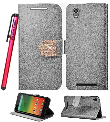 ZTE ZMAX Z970 Wallet Pouch Case, The3Knights[TM] Two Tone PU Leather Flip Wallet Cover Case + The3Knights[TM] Touch Screen Stylus (Z Wallet Pouch Bling Silver)