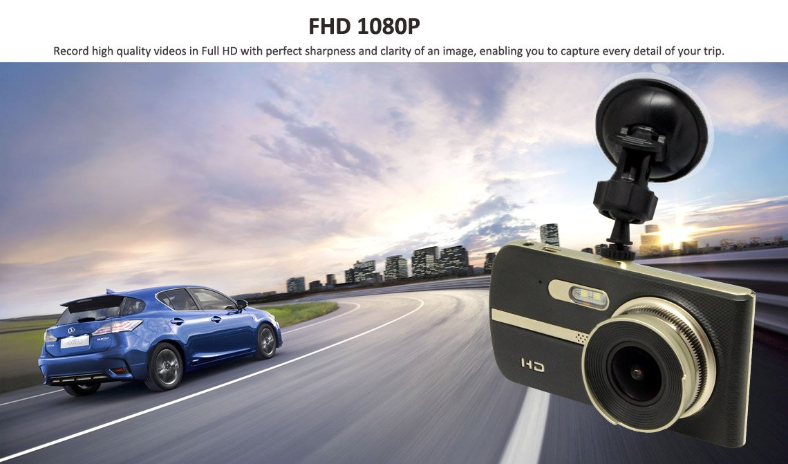 Dual Dash Cam 4'' Screen Wide Angle Lens Full 1080P Front and Back Car Dashboard Camera Parking Guard High Spec Processor DVR Enhanced Night Vision Driver Assist Motion Detection 12 Month Warranty
