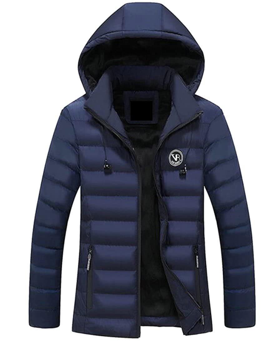Zantt Mens Fleece Lined Stand Collar Quilted Hooded Warm Down Jacket Coat