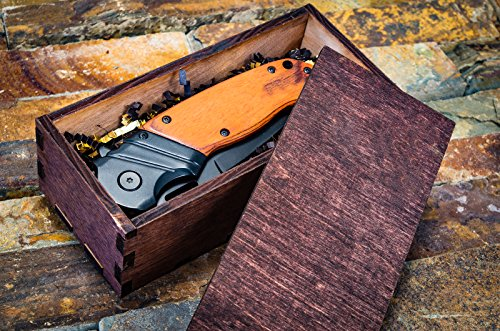 Hunting Knife Wooden Gift Box- Groomsmen or Boyfriend Pocket Knives, Groomsman Boxes, Husband Gift Set or Mens Wedding Gifts- Folding Blade Rustic Wood Handle Spring Assisted w/Clip, Elk Ridge 003BW