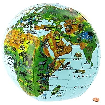 Inflatable Animals of the World Globe - 16in (1 Dozen): Toys & Games