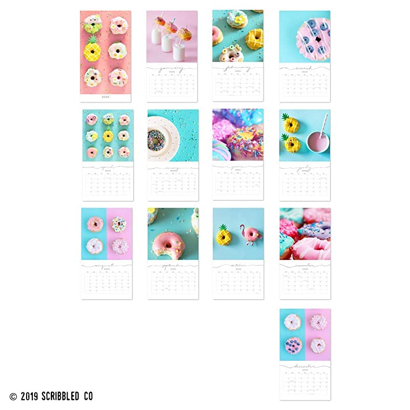 Cal0096 2020 Wall Calendar Office Decor Fun Gifts For Her 9.5 X 17.25 Donut Monthly Wall Planner Foodie Gift For Him
