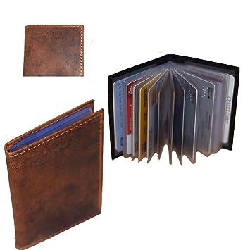 Kreditkartenetui Visitenkartenetui Braun Vintage Echtes Leder Abnehmbare Folie