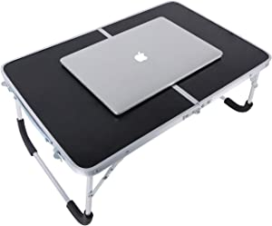 YOLER Laptop Table for Bed, Lap Desks Bed Trays for Eating, Computer Tray for Bed, Bed Desk for Laptop and Writing, Portable Folding Aluminum Mini Camp Table with Carry Handle 24''x 16''x 11'' (Black)