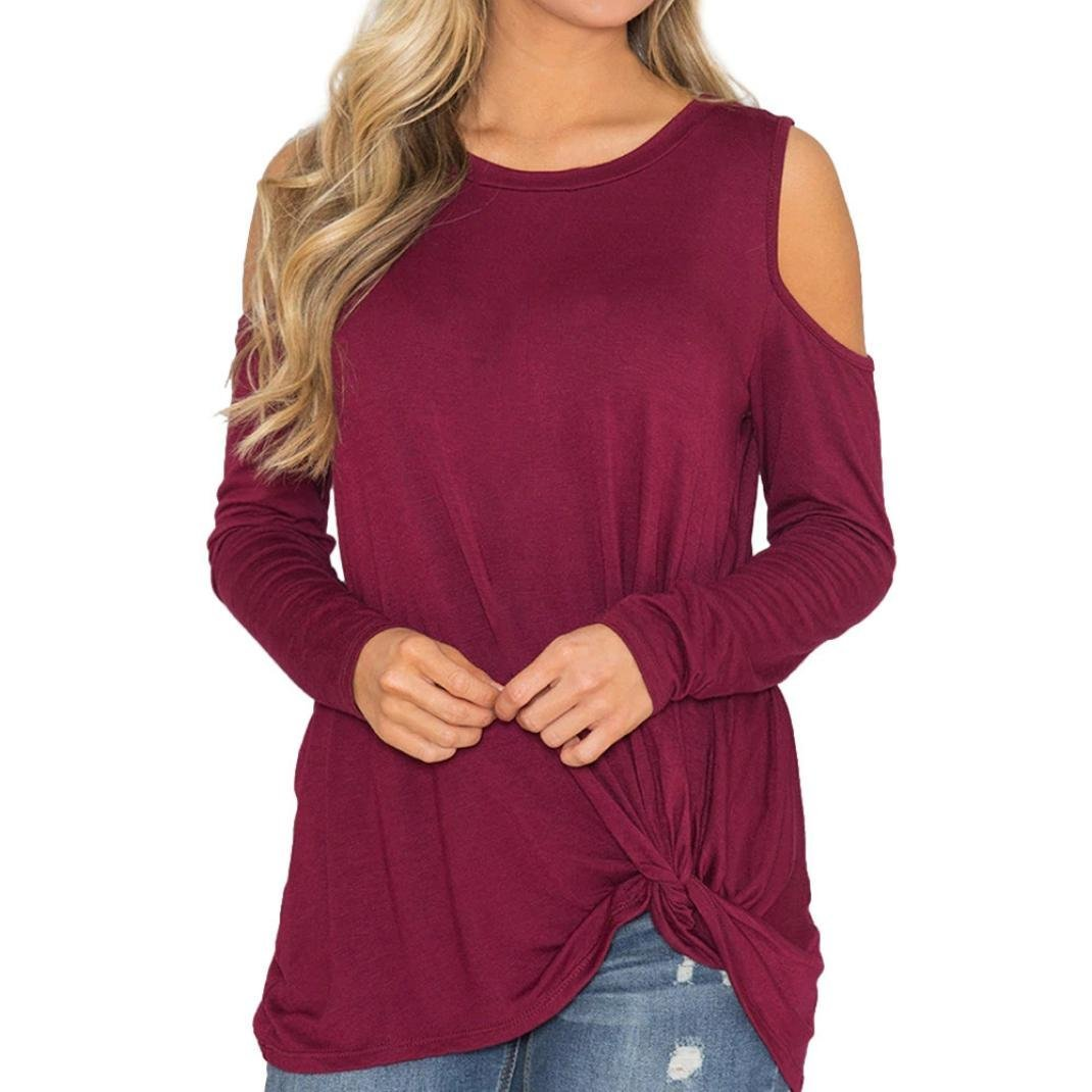 Franterd Women Blouse Solid Cold Shoulder T-Shirt Casual Knotted Hem Autumn Winter Tops