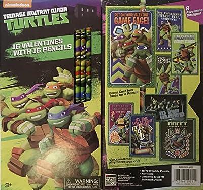 Teenage Mutant Ninja Turtle Valentines with Pencils ~ 16 count ~ 1 box