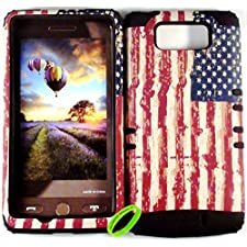 Cellphone Trendz High Impact Hybrid Rocker Case for Motorola Droid Maxx XT1080M / Droid Ultra XT1080 – American Flag Hard Shell on Gel (Black)