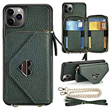 iPhone 11 Pro Max Wallet case, JLFCH iPhone 11 Pro Max Crossbody Case with Zipper Card Slot Holder Wrist Strap Shoulder Chain Leathe Handbag Purse for iPhone 11 Pro Max 6.5 inch 2019 - Midnight Green