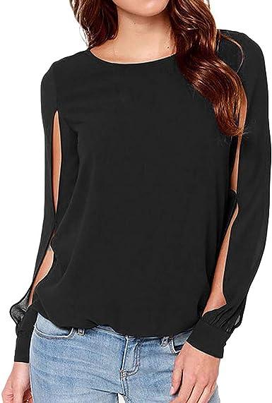 Sylar Camisas Mujer Tallas Grandes Camisetas De Manga Larga para Mujer Camisetas Mujer Cuello Redondo Camisas De Color Sólido para Mujer Blusa De Mujer Las Puntas Abiertas: Amazon.es: Ropa y accesorios