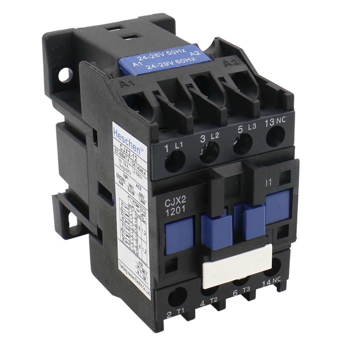 Heschen AC Contactor CJX2-1201 24V 50/60Hz Bobina 3P 3 polos normalmente cerrado 660V 25A