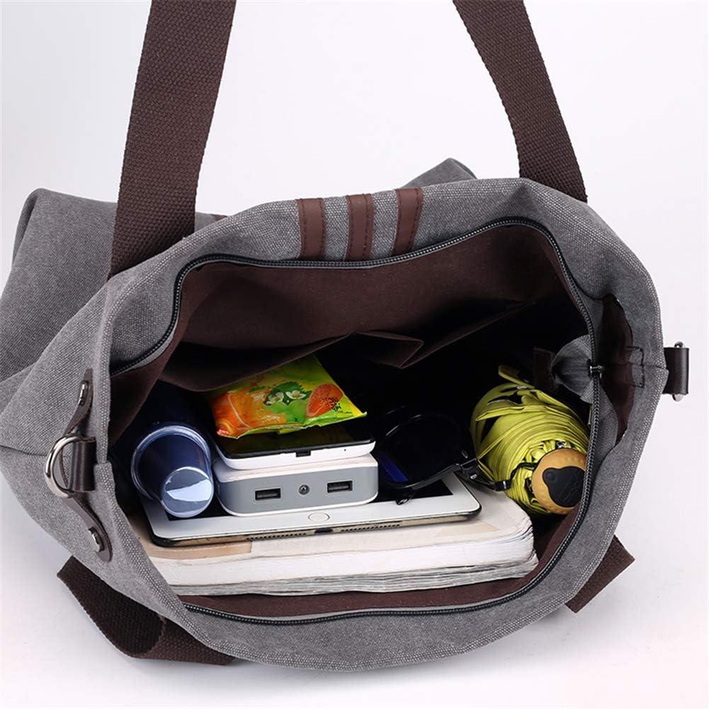 A.OAQRFA Vintage Canvas Damen Handtaschen Messenger Bags für Frauen, gestreifte Taschen Boston Handtaschen, 35X15X40CM Grau