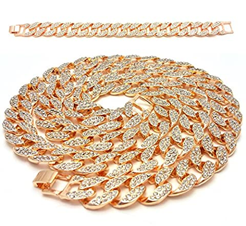 Mens Iced Out Hip Hop 14K Gold Finish Full CZ Miami Cuban Link Chain 15mm 30