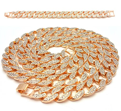 Out Gold Hip Hop Chain (Mens Iced Out Hip Hop 14K Gold Finish Full CZ Miami Cuban Link Chain 15mm 30
