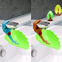 Cubierta del grifo, extensor de grifo de seguridad de diseño de hoja para niños Niños pequeños Lavado de manos Bebé Niños Lavado de manos Soporte Lavabo del baño (2PCS)