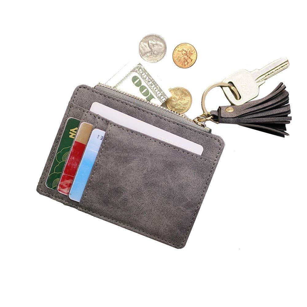 AnnabelZ Card Case Holder Slim Front Pocket Wallet Leather Coin Change Purse Keychain for Women AnnabelZ-CH3