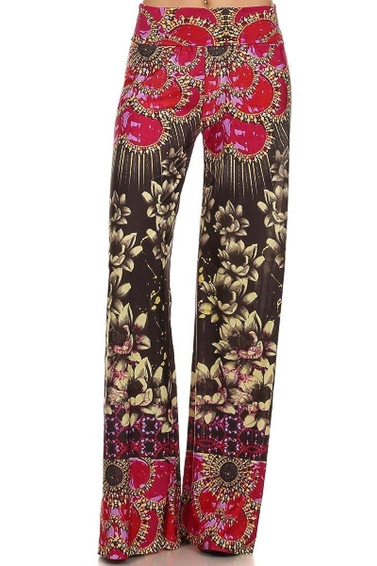 ICONOFLASH Womens Wide Leg Palazzo Pants with Fold-Over Waist