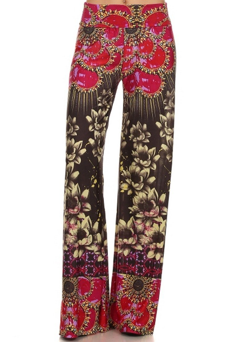 ICONOFLASH Women's Wide Leg Palazzo Pants with Fold-Over Waist (Ruby Rays, Small)