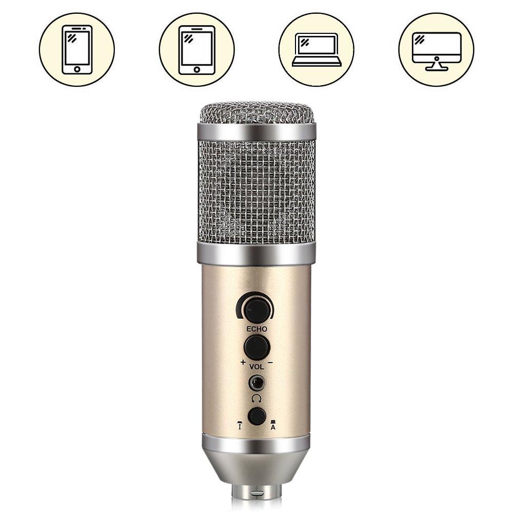 IDMAX PC/USB Microfono a Condensatore , 3.5 mm jack professione registrazione del microfono con Mic supporto per iPhone, Android, computer, iPad, podcast, Windows,chattare online, Youtube, Skpe