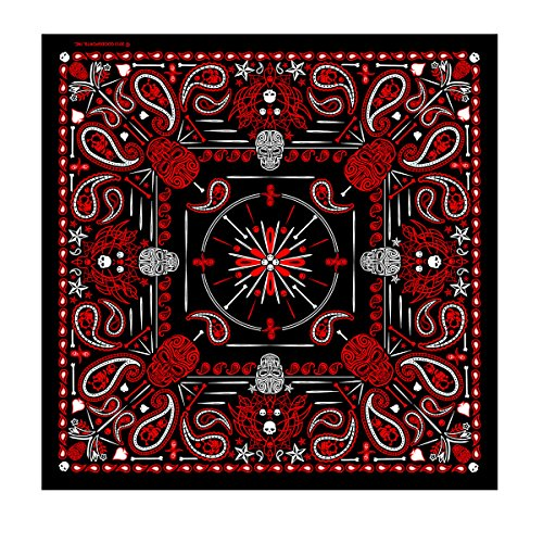 Hot Leathers Paisley Skulls Bandana (Black/Red)