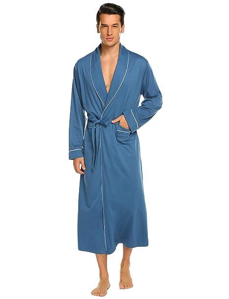 afe46e6889 Ekouaer Men s Robes Soft Kimono Bathrobe Lightweight Sleepwear Loungewear M-  XXXL
