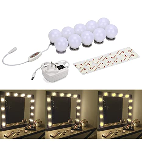 Hollywood Style Led Vanity Mirror Lights Kit 10 Dimmable Makeup Mirror Light Bulb With 5 Levels Color Temperature Warm White To Cool White 495cm