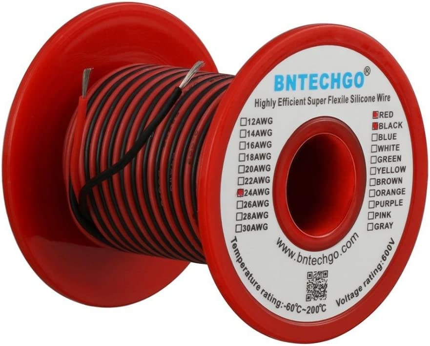 BNTECHGO 24 Gauge Silicone Wire Spool red and Black Each 50ft Flexible 24 AWG Stranded Copper Wire