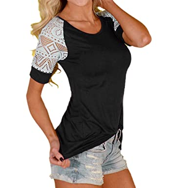 ab18894d2e9 Women Short Sleeve Lace Tops Casual Blouses Teen Girls Tunic Jumper  Sweatshirt for Summer (S