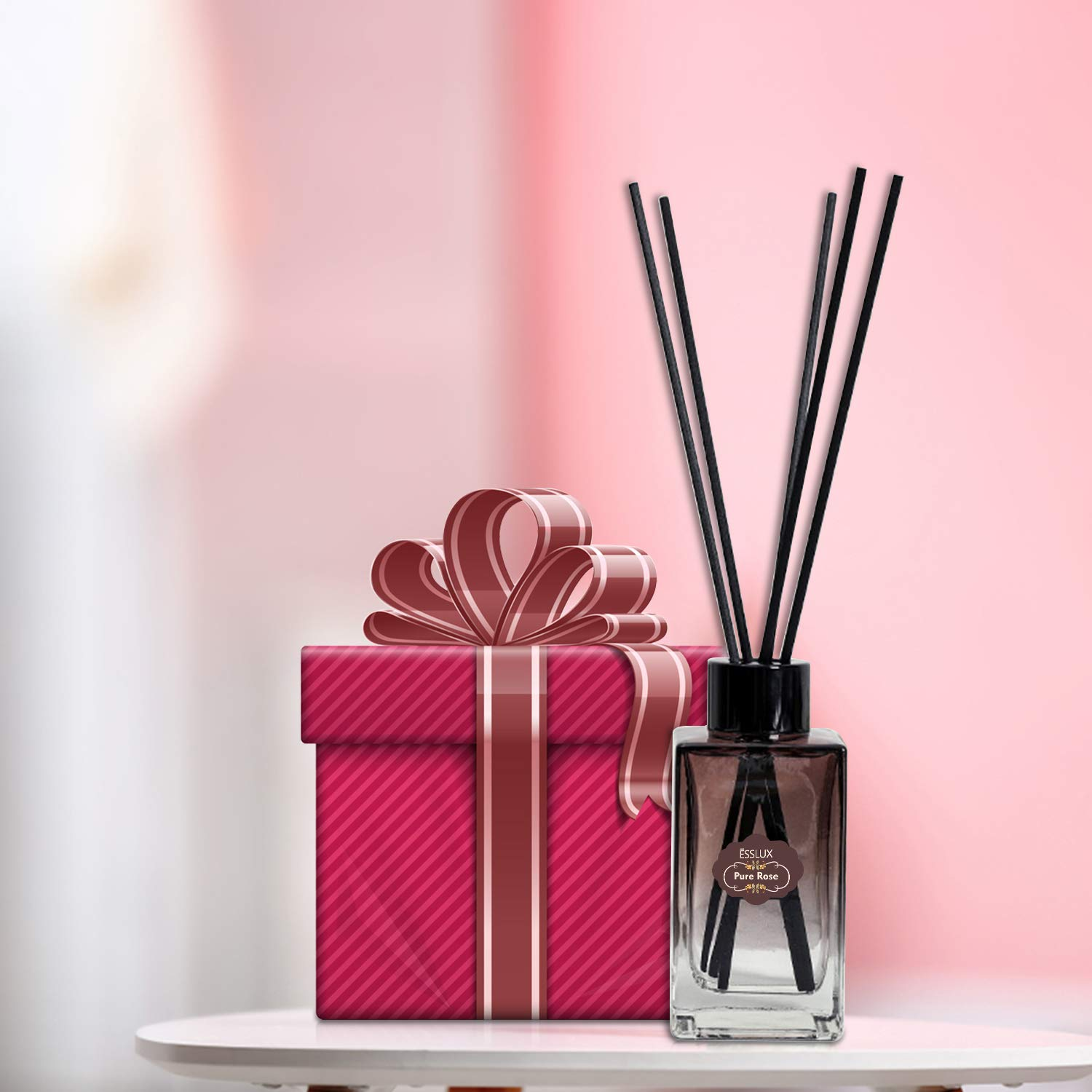 ESSLUX Scent Diffuser, Room Reed Diffuser Premium Quality for Home and Office, Air Freshener & Home Decor & Ideal Gift-Pure Rose by ESSLUX (Image #7)