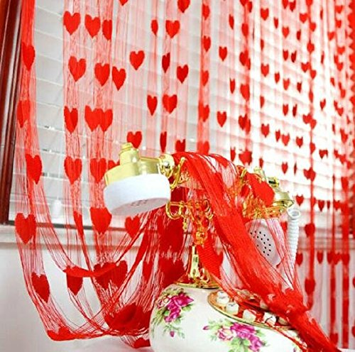 Lingstar Romantic Heart-Shaped Line Curtain Door Window Curtain Home Decorations Wedding Backdrops Derections Red