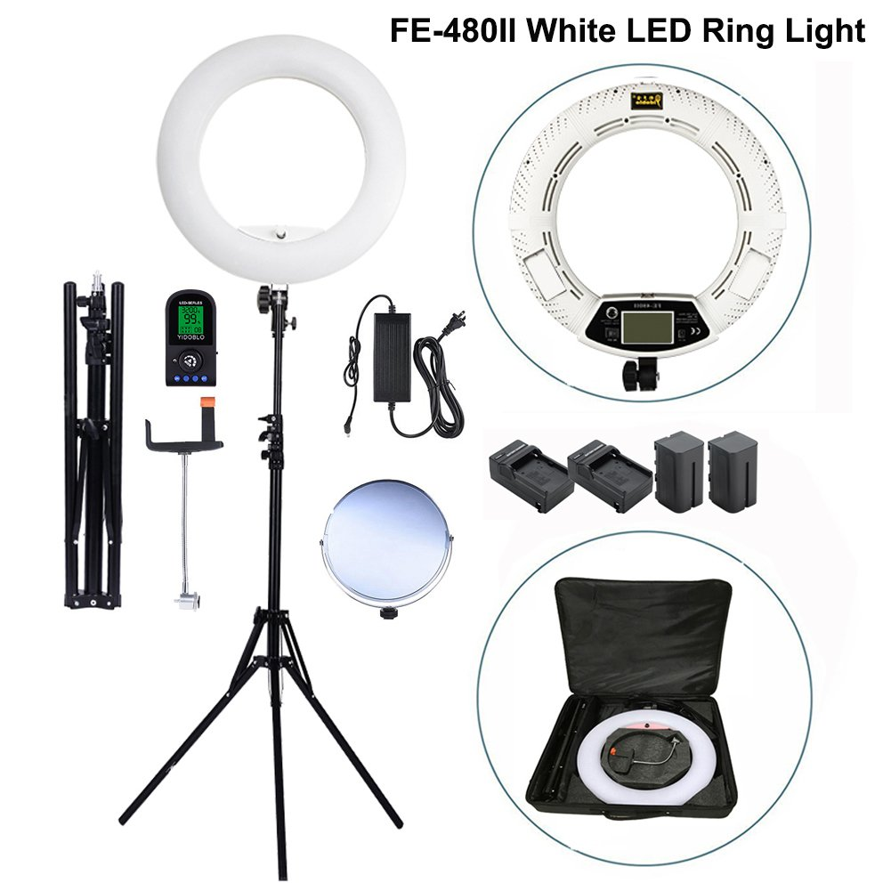 Yidoblo 96W 18'' LED Ring Light Kit FE-480II White Photo Video Portrait Selfie Makeup Youtube Lighting Bicolor with Remote, Phone/Camera Holder, Mirror, Light Stand, Batteries&Chargers, Carry Bag by Yidoblo