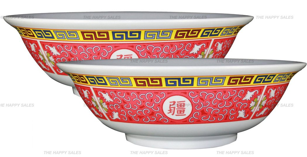 Happy Sales Longevity Design Melamine Oriental Pho Noodle Soup Bowl Set of 2 Multicolor HS5070TR-2 36 oz