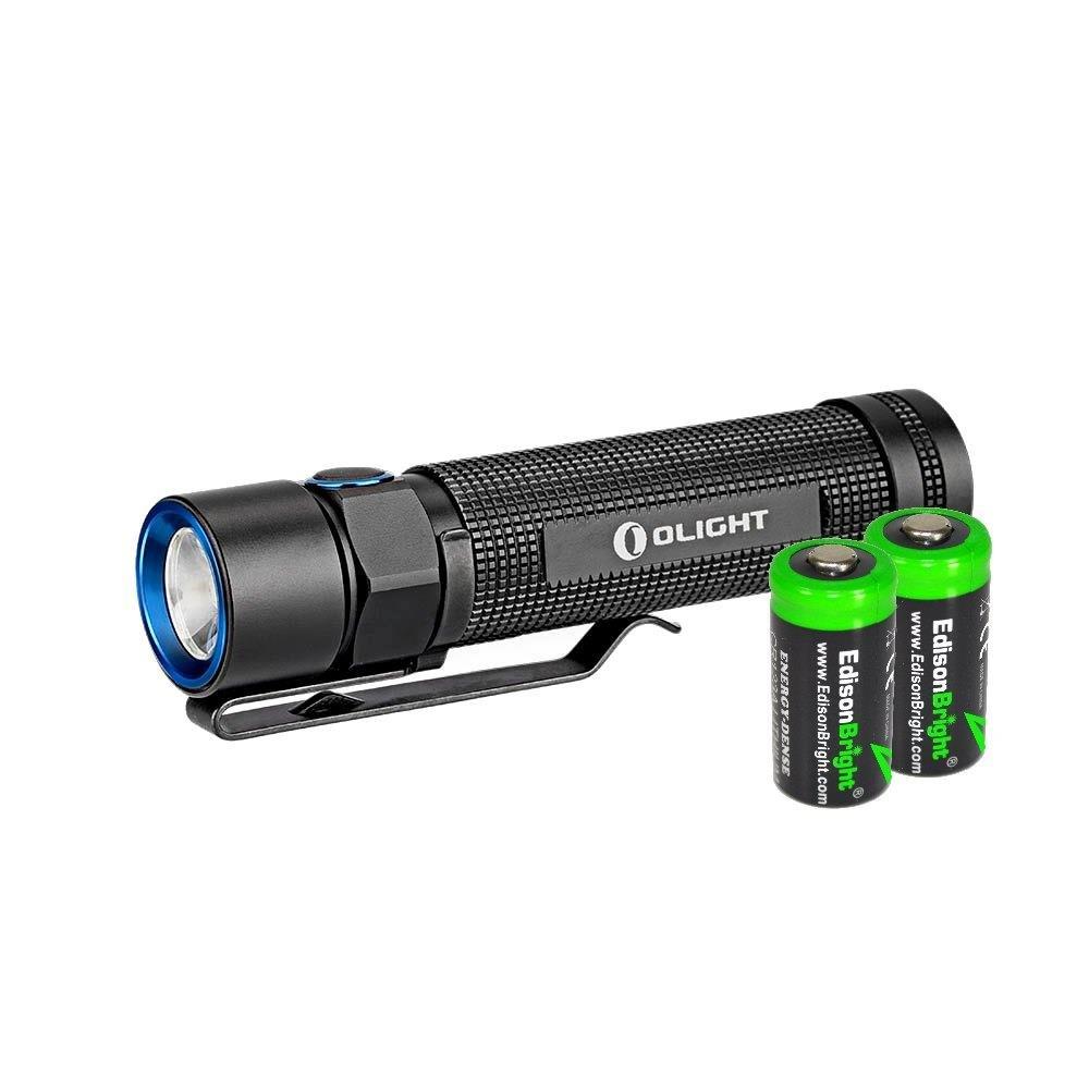 Olight S2 Baton 950 Lumen CREE LED Flashlight with two EdisonBright CR123A Lithium Batteries